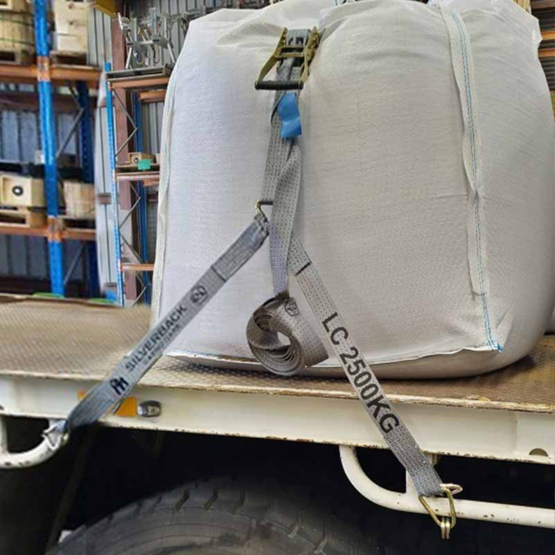 OVER ARCH Ratchet Tie Down Kit, Hook & Keeper. 9m x 50mm, LC 2500kg. SILVER