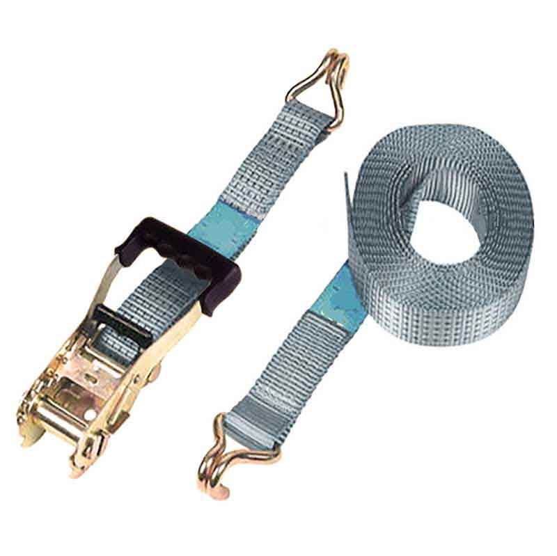 Ratchet Tie Down Kit, Double Wire J Hook. 9m x 50mm, LC 2000kg . SILVER