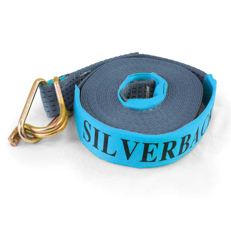 9Mt x 50mm, LC 2500kg - Winch Strap With Hook & Keeper. SILVER