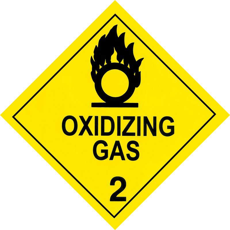 250mm Class 2.4 Oxidizing Gas Adhesive Label