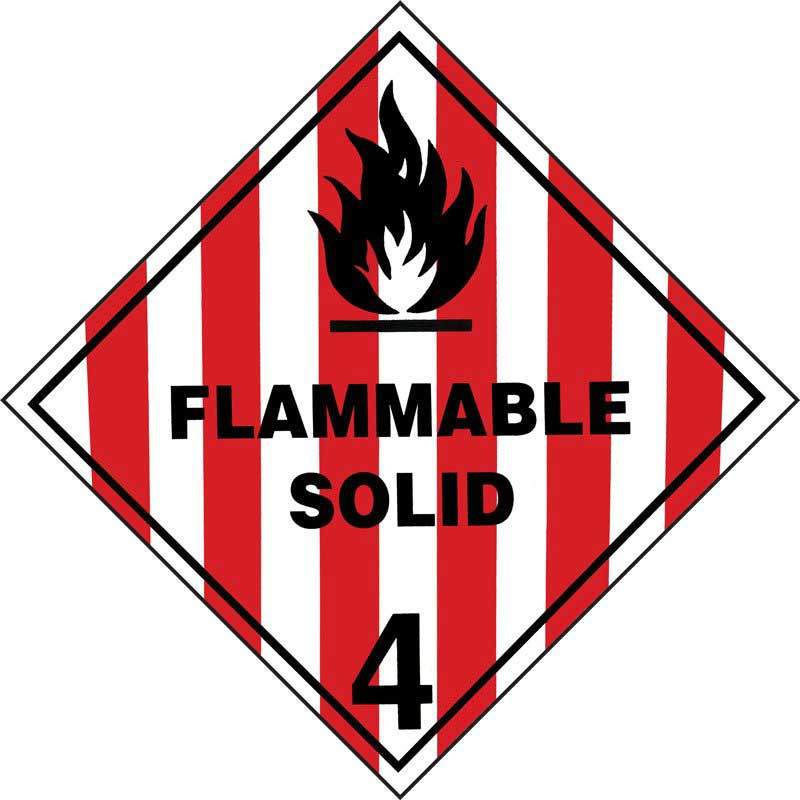 250mm Class 4.1 Flammable Solid. Adhesive Label