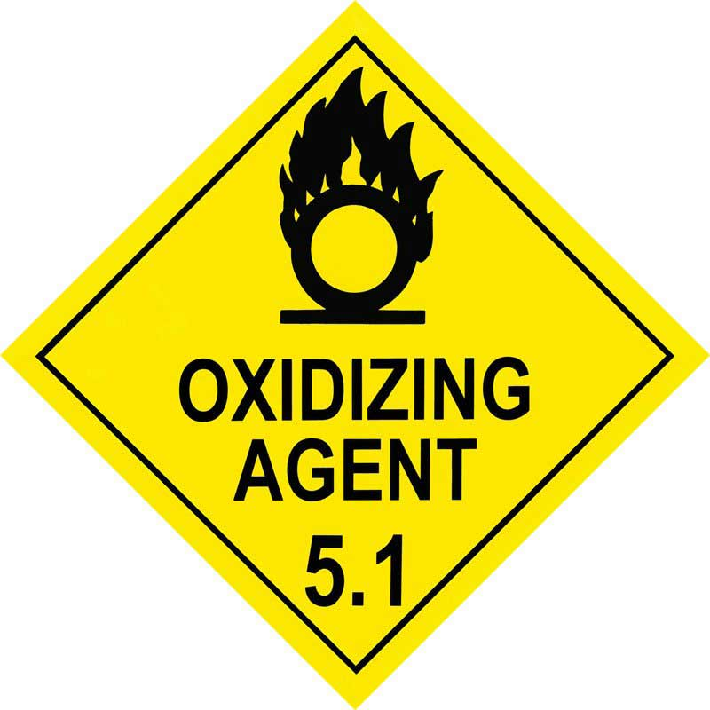 250mm Class 5.1 Oxidizing Agent. Adhesive Label