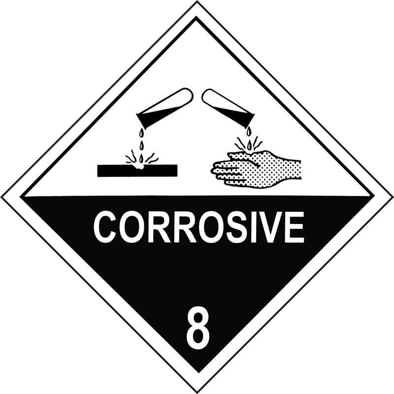 250mm Class 8 Corrosive Substances. Adhesive Label