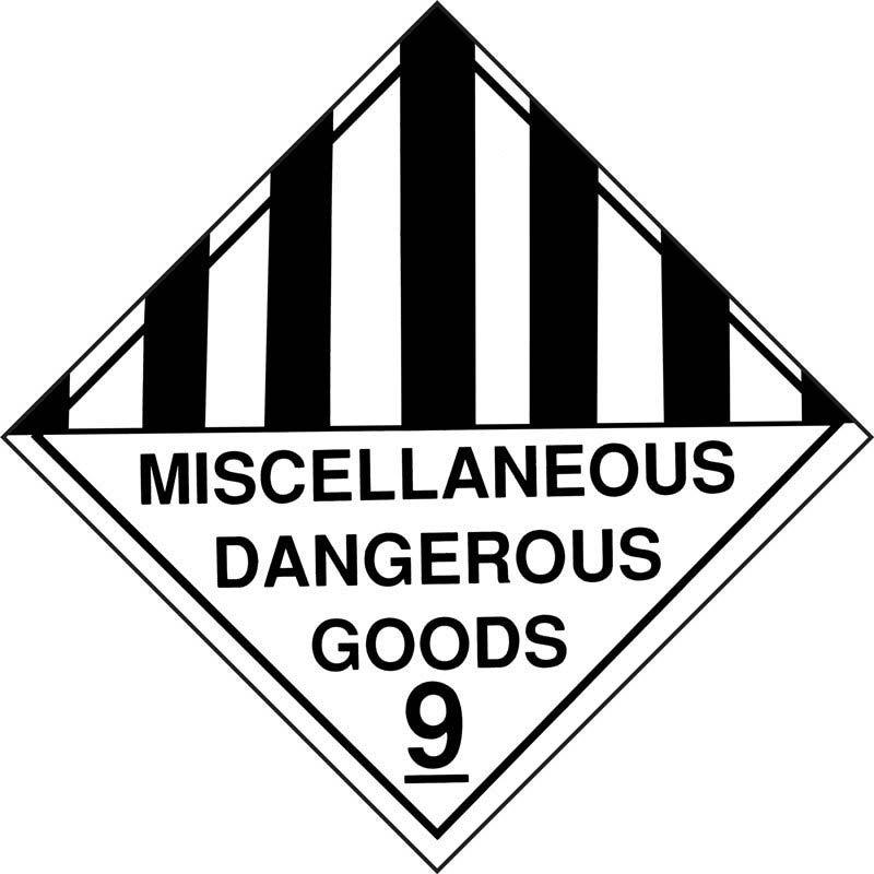 250mm Class 9 Miscellaneous Dangerous Goods, Adhesive Label.