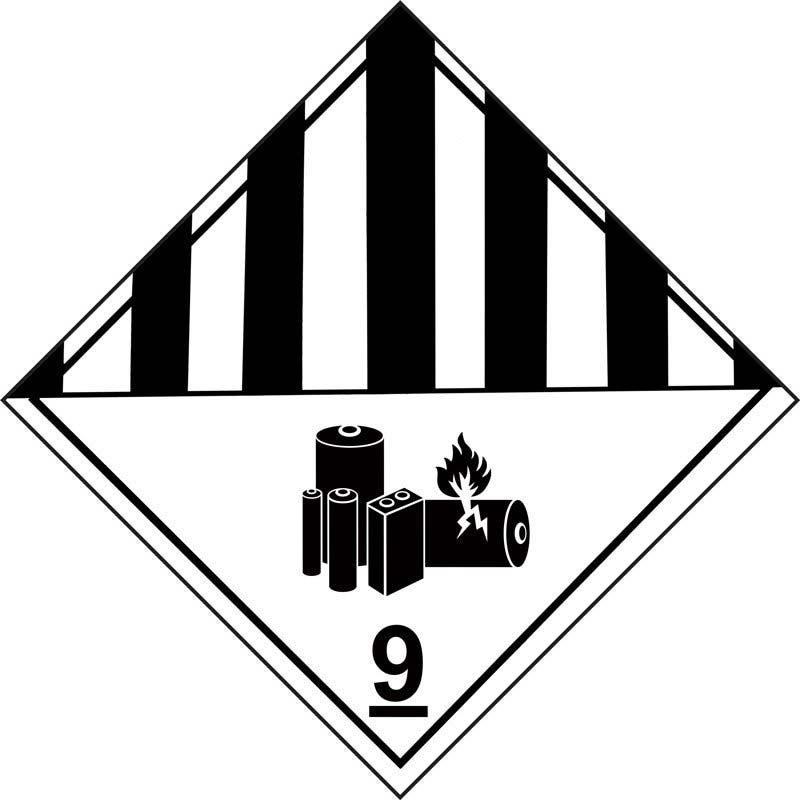 250mm Class 9 Lithium Battery Miscellaneous Dangerous Goods  Adhesive Label