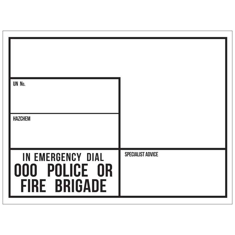 Emergency Info Panel (EIP) - Blank 600mmH x 800mmL. Adhesive Label