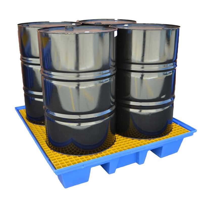 4 Drum Square Bunded Spill Pallet - 230L