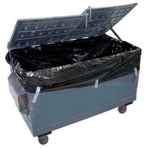 Hook Lift Industrial Bin Liner. Black 60Um Plastic. Roll 25 bags. (1.8mLx1.8mWx4