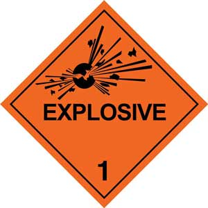 250mm Class 1.1 Explosive Adhesive Label