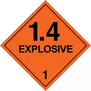 250mm Class 1.4 Explosive. Adhesive Label