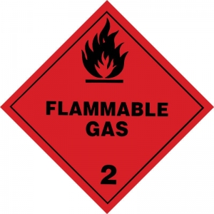 250mm Class 2.1 Flammable Gas  Adhesive Label