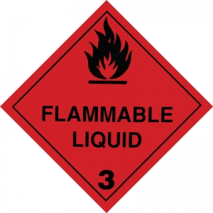 250mm Class 3 Flammable Liquid  Adhesive label.