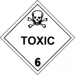 250mm Class 6.1 Toxic Substance. Adhesive Label