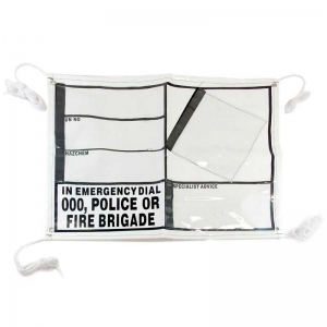 EIP PVC Banner with pockets, eyelets & ropes. Left side velcro