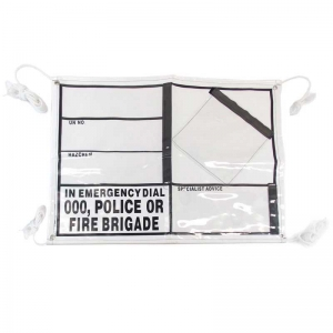 EIP PVC Banner with pockets, eyelets & rope. Right side velcro