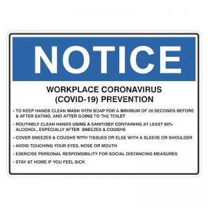 NOTICE W/Place (COVID-19) Prevention 300x450mm (Poly)