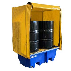 PVC Cover and Galv Frame to suit 2-Drum Bunded Spill Pallet