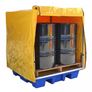 PVC Cover and Steel Frame to Suit 4 Drum Square Bunded Spill Pallet - 230L